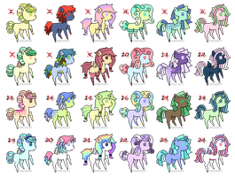 Pony Adoptables Batch Four CLOSED by Lambity