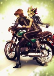Kaiba + Yami on a motorcycle by ellenchain