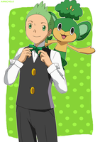Cilan and Pansage by anniberri