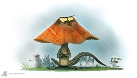 Daily Painting #861. Umbrella Lizard by Cryptid-Creations
