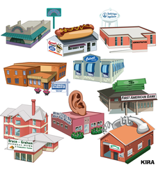 Cartoon Map Buildings by Kiracatures