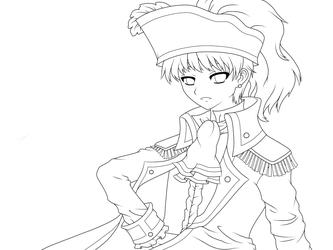 APH - Pirate King -LINEART- by chibimeganekko-tan