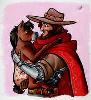 McCree with a Miniature Horse by BeckHop