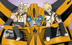 Commission: Bumblebee with Kagamine Twins by PDJ004