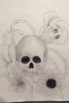 Skull and flower by Bean3672