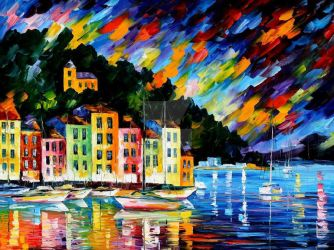 Portofino Harbor by Leonid Afremov by Leonidafremov
