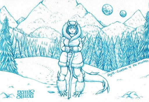 Inktober Day18 - Guardian of the mountain by Geminine-nyan