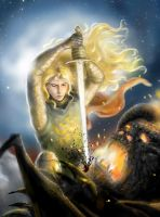 Glorfindel Battling the Balrog (detail) by annamare