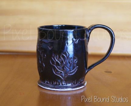 Hand Thrown Tree Themed Ceramic Mug - 8 oz by pixelboundstudios