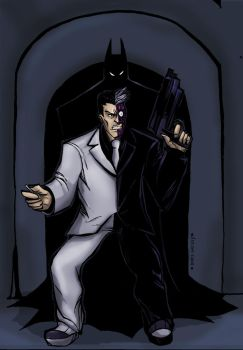 Batman vs Twoface by Sabrerine911
