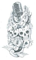 skull sleeve old school tattoo by symbolofsoul