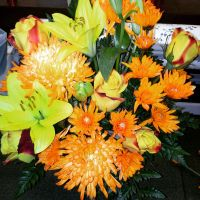 Orange and Yellow Lily Rose Arrangement by pippierafrostlin