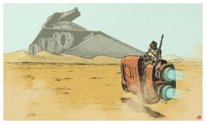 Star Wars VII: Rey on Jakku by CWingSyun