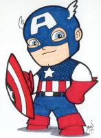 Chibi-Captain America. by hedbonstudios