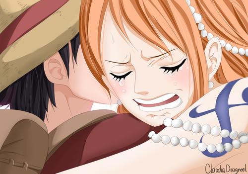 Luffy-and-nami by claudiadragneel