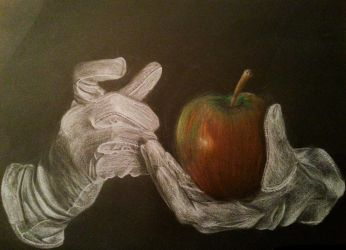 Holding a fruit with white gloves by JensSeethaler