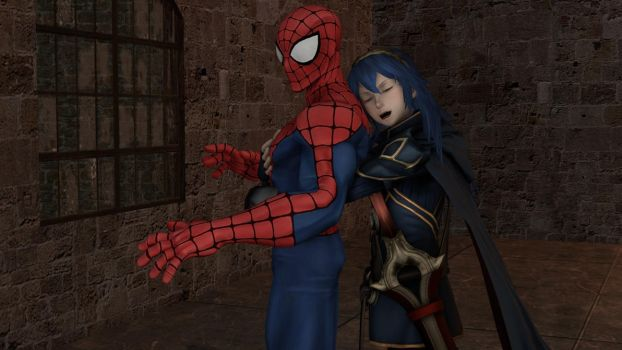 Lucina gives Spidey a surprise hug by kongzillarex619