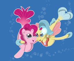 Pinkie and Princess Skystar seaponies by chedx