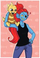 Undyne and Monster Kid (AT) by SnajeyArt