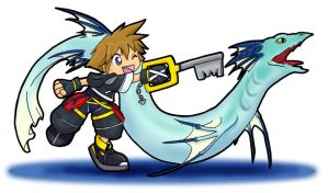 Sora Summons Leviathan-- by gryphonworks