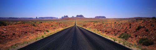 Beautiful Panorama of a Long Road in the Desert by ROGUE-RATTLESNAKE
