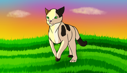 How I Draw: Cat Running in Field (request) by horse14t
