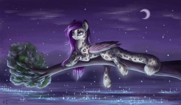 Night lake by Alina-Sherl