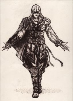 Ezio - Assassin's Creed (drypoint) by elodagus