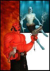 Red and Blue - Hellboy and Abe by ScottLewisART