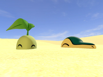 Chikorita and Cyndaquil in Quicksand (Request) by CosmicRay25