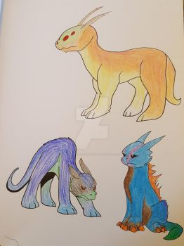 Dragon Concepts: Color Pencils by Paws-for-a-Moment