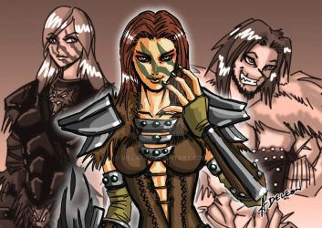 Tooth and Claw: Aela and her Parents by villafj