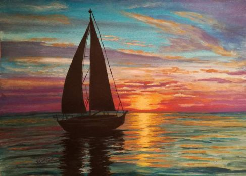 Watercolor Painting: Sunset by Layllaa
