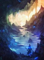 daily speedpaint 83 - sea cave (video) by DaisanART