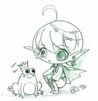 Minichibi Elf with Frog Gift by YamPuff