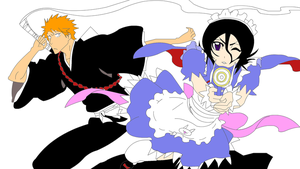 Rukia Maid and Ichigo by chappy1000