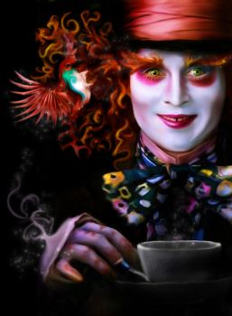 Mad Hatter and a bird. by miyavik