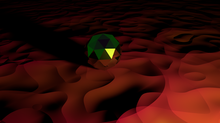 Icosphere in a rose/red desert by Phen0m77