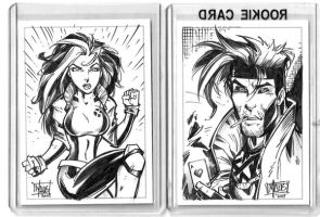 Rogue and Gambit card art by billmausart
