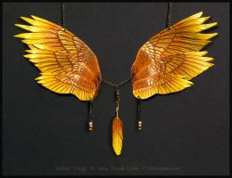 Gabriel Angel Wings - Leather Necklace by windfalcon