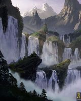 Mountain Waterfalls by Concept-Art-House