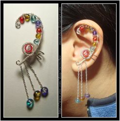 Colorful Curved ear cuff by Meowchee