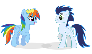 Rainbow Dash and Soarin by selecteddash