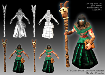 RTS Game Druid Low Poly Character by MarcFenselau