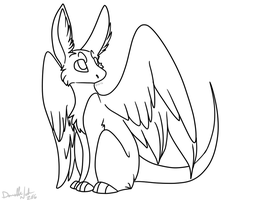 Free Dutch Angel Dragon Lineart by Dundeedog