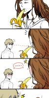 Dramione - Girl and Banana by fingernailtreez