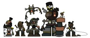Character Line-up. The SkullBots. by Adam-Clowery