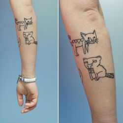 Beaver and kitten tattoos by sHavYpus
