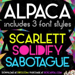 Alpaca Scarlett (free font with 3 styles) by Dirt2 by KeepWaiting