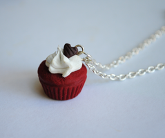 Red Velvet Cupcake Necklace by ClayRunway